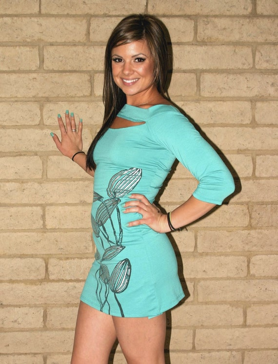 teal blue BACKLESS deconstructed DIY t shirt dress  --  size XS / S
