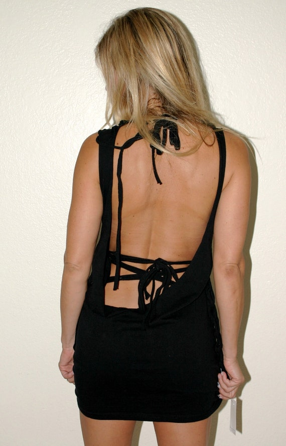 Corset Inspired black backless shredded t shirt mini dress  --  handmade to fit You