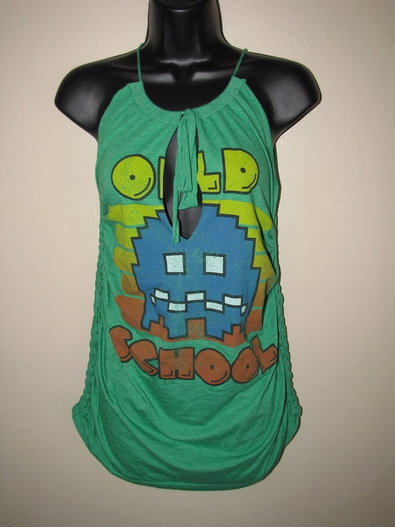 classic old school PAC MAN green cut couture t shirt tank top