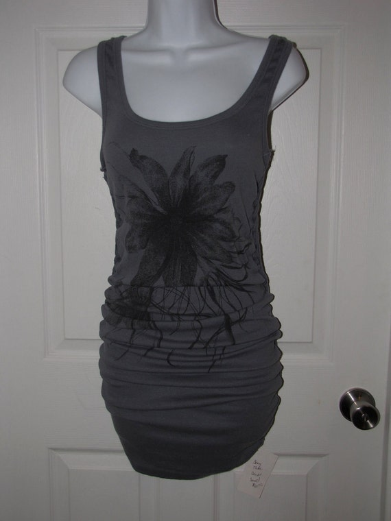 Gray backless floral tank top maxi mini dress -- size Extra Small, XS