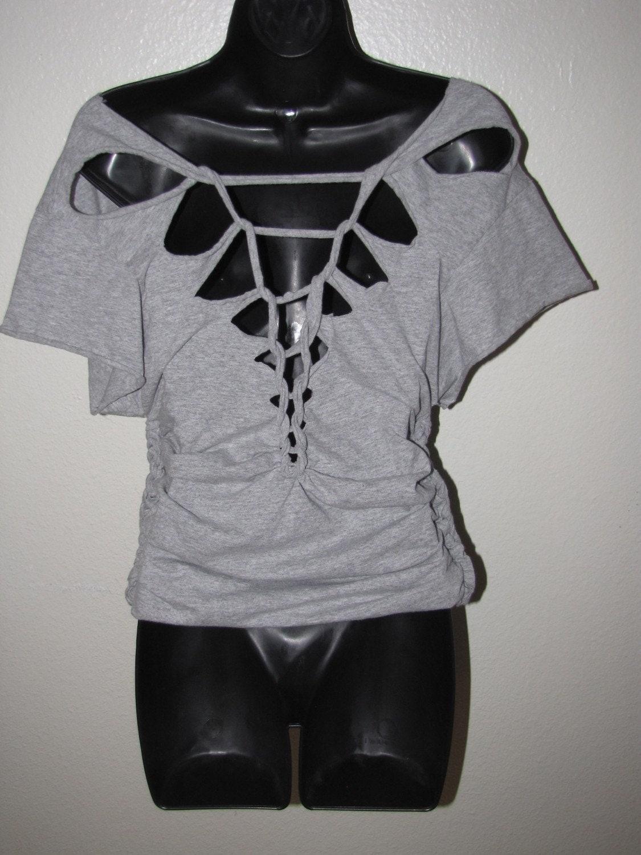 Custom backless shredded t shirt deconstructed diy for Diy custom t shirts