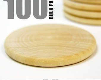 100 Round 1 Inch Wood Disks for Pendants, Magnets, Scrapbooking, and More. Bulk Lot.