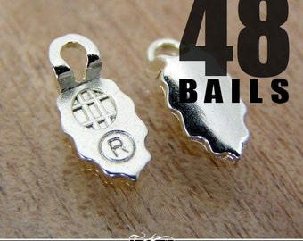 48 Silver Plated Earring Bails Aanraku Glue Pad Earring Bails