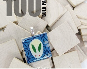 "100 Pack of 1"" Wood Squares. Use instead of Scrabble Tiles for Pendants, Magnets. Scrapbooking, and More."