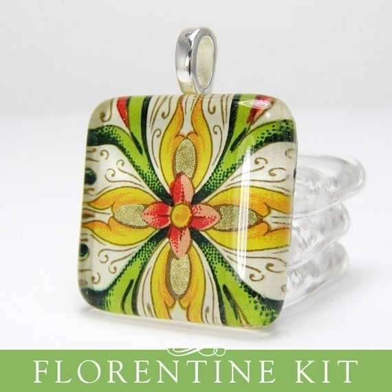 Make 6 Square Glass Pendants with Gorgeous Florentine Papers. Deluxe DIY kit with supplies and Handmade By Me Glass Squares.