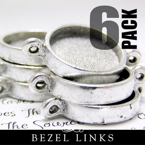 6 Small Silver Circle Links Bezel Settings for Pendants or Bracelets, Just Fill with Resin or Polymer Clay.