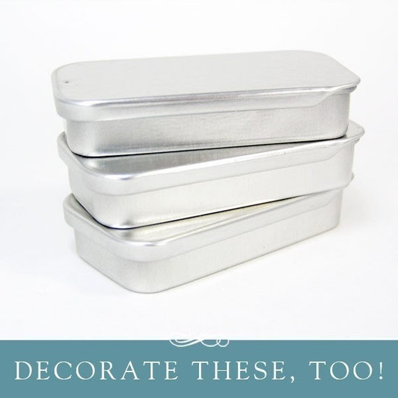 Metal tins 5 mini plain jane tins rectangle mini by for Small tin containers