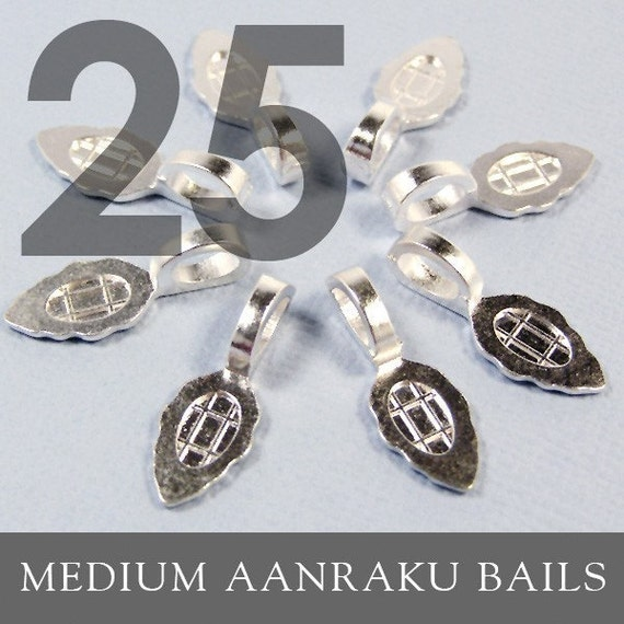 Glue Pad  Bails AANRAKU BAIL MEDIUM SIZE - 25 Sterling Silver Plated Bails for Scrabble Tiles and Glass Pendants