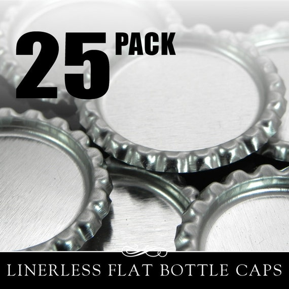Flat Bottle Caps. 25 Flattened Chrome Bottle Caps without Liners. Annie Howes.