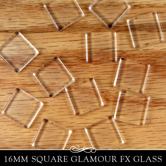 16mm clear square glass shapes. Clear Glass Tiles for Pendants and Magnets. Glamour FX Glass is an Annie Howes Exclusive. 25 Pack.