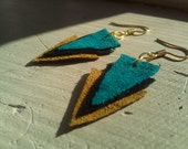 Geometric Triangle Earrings - Mustard/Teal/Black
