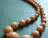 Vintage Graduated Glass Strand, tan, one strand