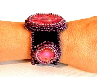 pink lace agate bead embroidered cuff bracelet