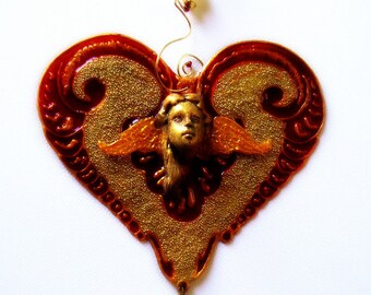 victorian angel heart suncatcher