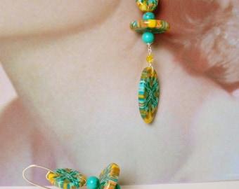 ooak turquoise and polymer geometric earrings