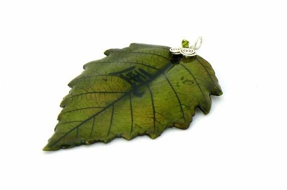 birch leaf gemstone pendant