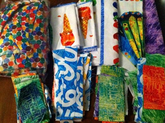 Fabric -- The Very Hungry Caterpillar by Eric Carle -- Scrap Bag (fd019) -- 34.5 ouncesl