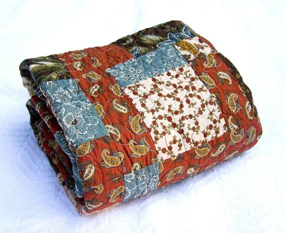 Burgundy And Brown Laurel Patchwork Quilt