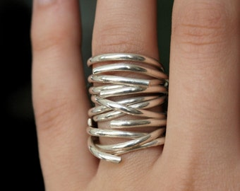 Going in Circles Sterling stacking ring set of 3, sterling silver wrap ring, wrapped silver ring, silver stacking ring, infinity ring