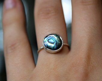 Sterling Silver Abalone ring, round abalone ring, sterling silver abalone ring, small abalone ring, blue abalone ring