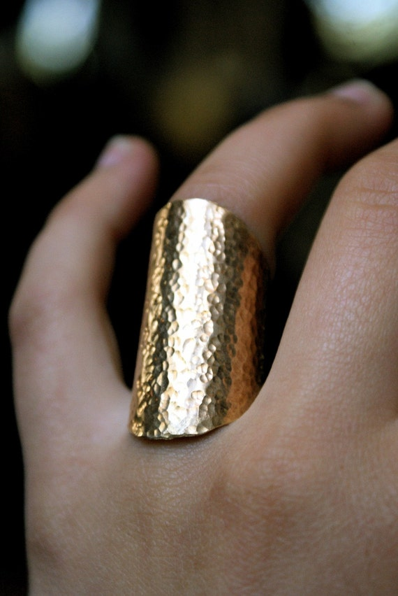 Rounded Brass Shield Ring