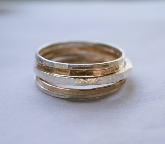 silver and gold mixed metal stacking ring set of 5 hammered silver