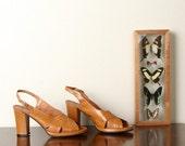Vintage Italian Venus Platform Peep Toe Sandals Size 9