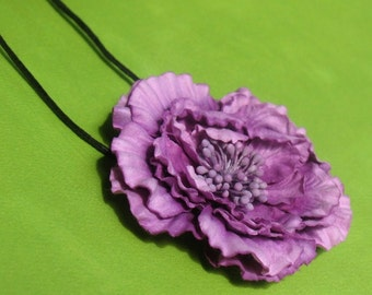 Amethyst - Paper Flower Pendant Necklace
