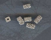 Sterling Silver Authentic BALI Square tube beads, Circa early 90s Lot of 2