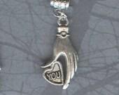 Silver Loving Heart Hand Lrg Hole Bead Fits  All European Styles Add a Bead Charm Bracelet Jewelry Pnd-G05