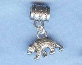 Silver Bear Lrg Hole Bead Fits All European Styles of  Add a Bead Charm Bracelet Jewelry Pnd-Anm076