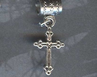Gothic Cross Lrg Hole Bead Fits All European,  Add a Bead Charm Bracelet Jewelry Pnd-Rec07