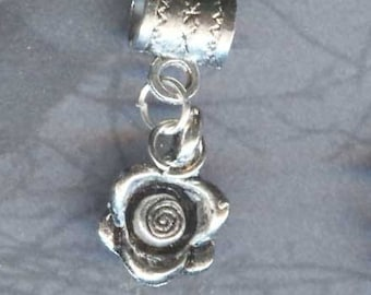 Silver Spiral Centered Rose Lrg Hole Bead Fits All European  Add a Bead Charm Bracelet Jewelry Pnd-G07