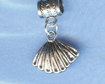 Silver Scallop Shell Lrg Hole Bead Fits All European Style Add a Bead Charm Bracelet Jewelry Pnd-A29
