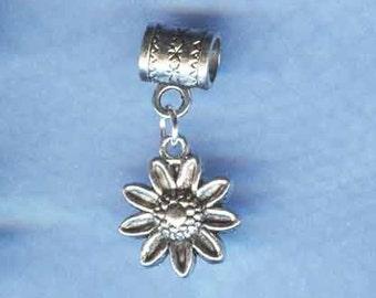 Silver Daisy Flower Lrg Hole / Big Hole Bead Fits all European Style Add a Bead Charm Bracelet Jewelry Pnd-G29