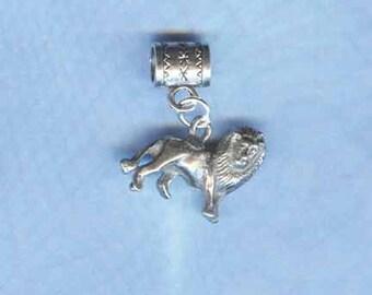 Silver 3D Lion Leo Lrg Hole Bead Fits All European Style Add a Bead Charm Bracelet Jewelry PND-ANM44