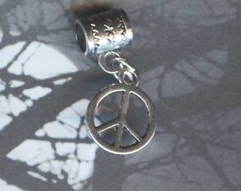 Silver Peace Sign Lrg Hole Bead Fits All European Add a Bead Charm Bracelet Jewelry Pnd-Sy05