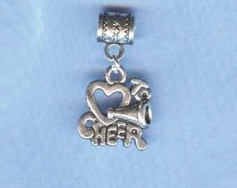 Silver Cheerleader Lrg Hole Bead Fits All European Add a Bead Charm Bracelet Jewelry Pnd-G24