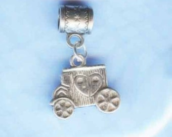 Silver Wedding Coach Lrg Hole Bead Fits All European Add a Bead Charm Bracelet Jewelry PND-GN46