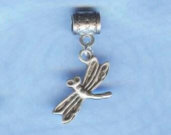 Silver Dragonfly Lrg Hole Bead Fits All European  Add a Bead Charm Bracelet Jewelry PND-AN54