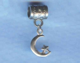 Sterling Silver Moon with Star Lrg Hole Bead Fits All European Style Add a Bead Charm Bracelet Jewelry Pnd-C33