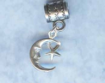 Sterling Silver Moon Star Lrg Hole Bead Fits All European Styles of  Add a Bead Charm Bracelet Jewelry Pnd-C30