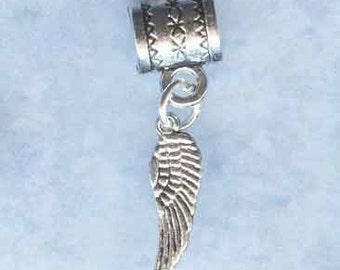 Silver Angel Wing Lrg Hole Bead Fits All European Add a Bead Charm Bracelet Jewelry Pnd-S13