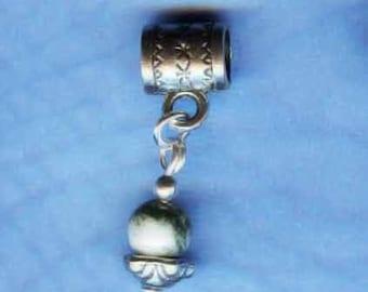 Silver  & Tree Agate Lrg Hole Bead Fits All European Style Add a Bead Charm Bracelet Jewelry Pnd-Gm52