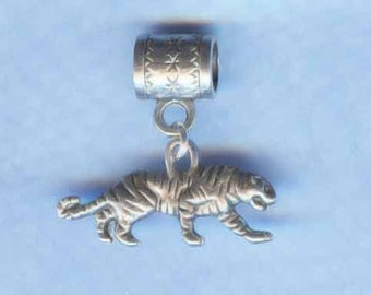 Silver Tiger Lrg Hole Bead Fits All European Style Add a Bead Charm Bracelet Jewelry PND-Anm073
