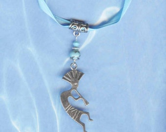 Kokopelli Necklace Turquoise Silver and Blue