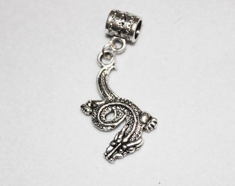 Silver Dragon Lrg Hole Bead Fits All European style Add a Bead Charm Bracelet Jewelry Pnd-F09