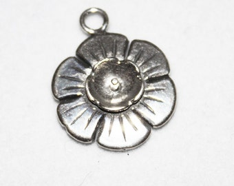Flower Stone / Half Drilled Stone or Pearl Setting Sterling Silver St-Z1546
