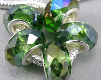 Silver Glass AB Crystal Beads - Sparkling Green, fits All European Style Add a Bead Jewelry Gpnd-037