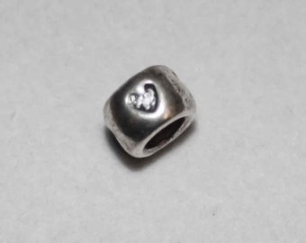 Silver Heart Big Hole Bead Fits All European Add a Bead Charm Bracelet Jewelry BHB-015